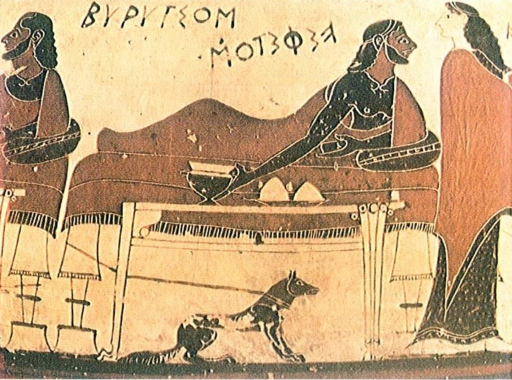 SCENA DI BANCHETTO, DA UN VASO DEL 600 a.C.